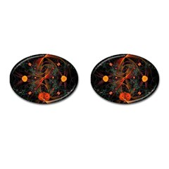 Fractal Wallpaper With Dancing Planets On Black Background Cufflinks (Oval)