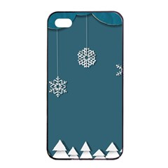Blue Snowflakes Christmas Trees Apple iPhone 4/4s Seamless Case (Black)