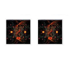 Fractal Wallpaper With Dancing Planets On Black Background Cufflinks (square)