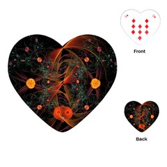Fractal Wallpaper With Dancing Planets On Black Background Playing Cards (Heart)