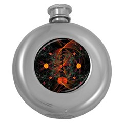 Fractal Wallpaper With Dancing Planets On Black Background Round Hip Flask (5 Oz)