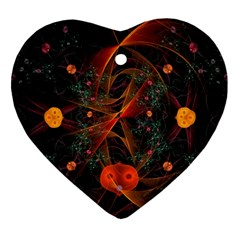 Fractal Wallpaper With Dancing Planets On Black Background Heart Ornament (Two Sides)