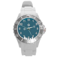 Blue Snowflakes Christmas Trees Round Plastic Sport Watch (L)