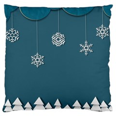 Blue Snowflakes Christmas Trees Large Cushion Case (One Side)