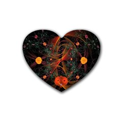 Fractal Wallpaper With Dancing Planets On Black Background Heart Coaster (4 pack)