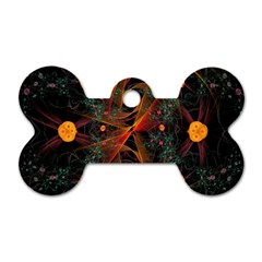 Fractal Wallpaper With Dancing Planets On Black Background Dog Tag Bone (two Sides)