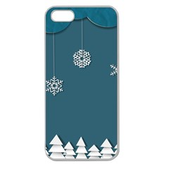 Blue Snowflakes Christmas Trees Apple Seamless iPhone 5 Case (Clear)