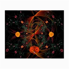 Fractal Wallpaper With Dancing Planets On Black Background Small Glasses Cloth (2-Side)