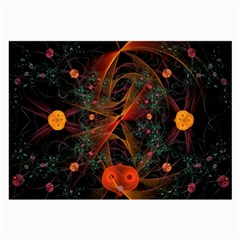 Fractal Wallpaper With Dancing Planets On Black Background Large Glasses Cloth (2-Side)