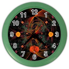Fractal Wallpaper With Dancing Planets On Black Background Color Wall Clocks