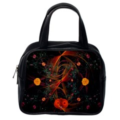 Fractal Wallpaper With Dancing Planets On Black Background Classic Handbags (One Side)