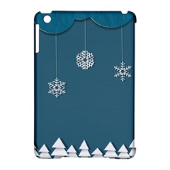 Blue Snowflakes Christmas Trees Apple iPad Mini Hardshell Case (Compatible with Smart Cover)