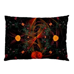 Fractal Wallpaper With Dancing Planets On Black Background Pillow Case