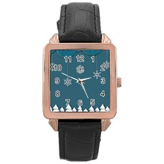 Blue Snowflakes Christmas Trees Rose Gold Leather Watch