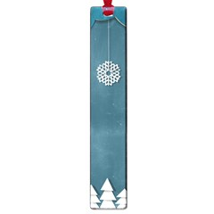 Blue Snowflakes Christmas Trees Large Book Marks