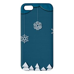 Blue Snowflakes Christmas Trees Apple iPhone 5 Premium Hardshell Case