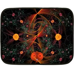 Fractal Wallpaper With Dancing Planets On Black Background Double Sided Fleece Blanket (Mini)