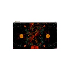 Fractal Wallpaper With Dancing Planets On Black Background Cosmetic Bag (small)