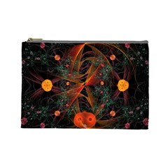 Fractal Wallpaper With Dancing Planets On Black Background Cosmetic Bag (Large)