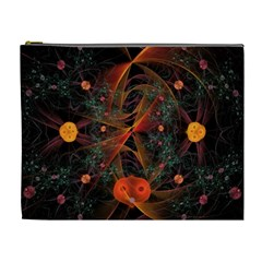 Fractal Wallpaper With Dancing Planets On Black Background Cosmetic Bag (xl)