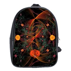 Fractal Wallpaper With Dancing Planets On Black Background School Bags(Large)