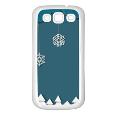 Blue Snowflakes Christmas Trees Samsung Galaxy S3 Back Case (White)