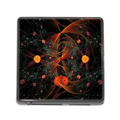 Fractal Wallpaper With Dancing Planets On Black Background Memory Card Reader (Square)