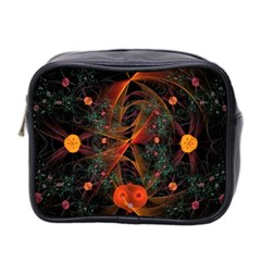 Fractal Wallpaper With Dancing Planets On Black Background Mini Toiletries Bag 2-Side