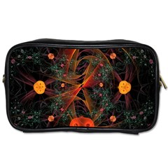 Fractal Wallpaper With Dancing Planets On Black Background Toiletries Bags 2-Side