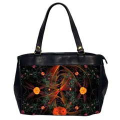 Fractal Wallpaper With Dancing Planets On Black Background Office Handbags (2 Sides)