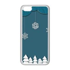 Blue Snowflakes Christmas Trees Apple iPhone 5C Seamless Case (White)