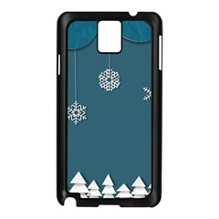 Blue Snowflakes Christmas Trees Samsung Galaxy Note 3 N9005 Case (Black)