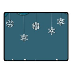 Blue Snowflakes Christmas Trees Double Sided Fleece Blanket (Small)