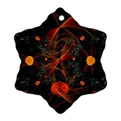 Fractal Wallpaper With Dancing Planets On Black Background Snowflake Ornament (two Sides)