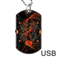 Fractal Wallpaper With Dancing Planets On Black Background Dog Tag USB Flash (One Side)
