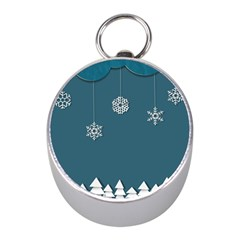 Blue Snowflakes Christmas Trees Mini Silver Compasses