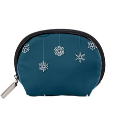 Blue Snowflakes Christmas Trees Accessory Pouches (Small)