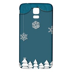 Blue Snowflakes Christmas Trees Samsung Galaxy S5 Back Case (white)
