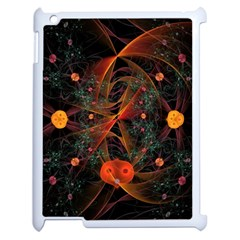Fractal Wallpaper With Dancing Planets On Black Background Apple iPad 2 Case (White)