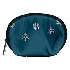 Blue Snowflakes Christmas Trees Accessory Pouches (Medium)