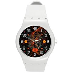 Fractal Wallpaper With Dancing Planets On Black Background Round Plastic Sport Watch (m)