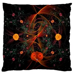 Fractal Wallpaper With Dancing Planets On Black Background Large Cushion Case (Two Sides)