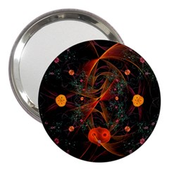 Fractal Wallpaper With Dancing Planets On Black Background 3  Handbag Mirrors