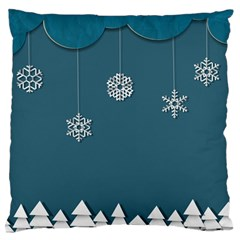 Blue Snowflakes Christmas Trees Large Flano Cushion Case (Two Sides)