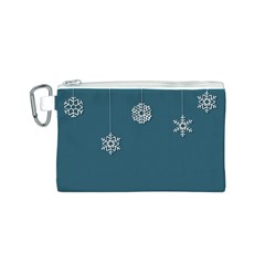 Blue Snowflakes Christmas Trees Canvas Cosmetic Bag (S)