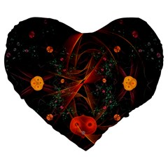 Fractal Wallpaper With Dancing Planets On Black Background Large 19  Premium Heart Shape Cushions