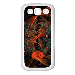 Fractal Wallpaper With Dancing Planets On Black Background Samsung Galaxy S3 Back Case (white)