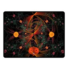 Fractal Wallpaper With Dancing Planets On Black Background Double Sided Fleece Blanket (Small)