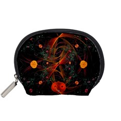 Fractal Wallpaper With Dancing Planets On Black Background Accessory Pouches (Small)