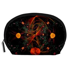 Fractal Wallpaper With Dancing Planets On Black Background Accessory Pouches (large)